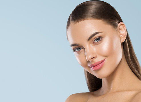 Shine clean skin woman beauty portrait smooth long hair cosmetic spa