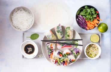 Fototapeta Spring rolls with vegetables, asian food obraz