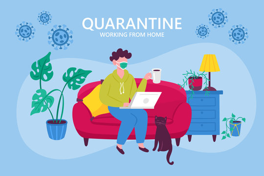 Coronavirus quarantine concept. Working from home. Man sitting on couch and working on laptop. Flat cartoon vector illustration