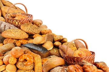Wall Mural - Fresh buns, cookies, croissants and other bread products