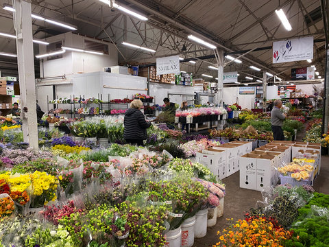 Flowers are displayed for sale at San Francisco's wholesale flower market, where business has been hit hard by bans on large events amid coronavirus (COVID-19) concerns, in San Francisco