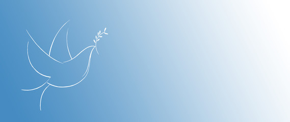 Stylized drawing of a flying dove with olive leaves, a symbol of peace and rebirth, easter, peace, love