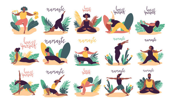 Hand drawn minimal vector illustration of cartoon men and women character doing yoga asana pose outside in nature with backgroud of tropical leafs and plants.