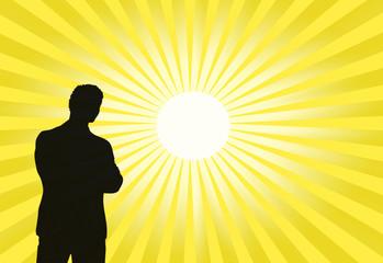Foto op Aluminium Zwavel geel Silueta de hombre y Sol, ilustración, estrella, esfera, rayos, iluminado, amarillo.
