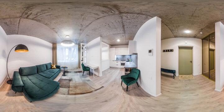 360 panorama view of modern loft apartment interior. White kitchen set. Living room. Entrance door.