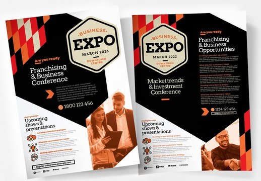 Business Flyer Layout with Orange Geometric Elements and Overlays
