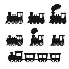 Train icon, Train with smoke symbol icon, old locomotive silhouette, sign vector illustration