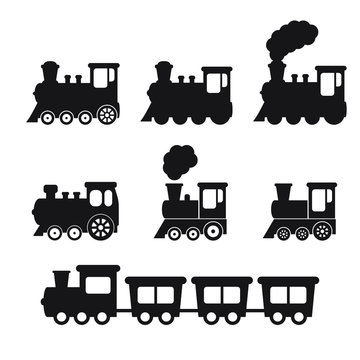 Train icon, Train with smoke symbol icon, old locomotive silhouette, sign vector illustration