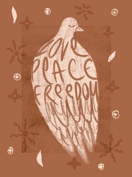 White dove illustration with hand lettering
