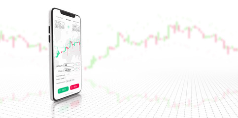 Stock exchange smartphone app with general info shown on screen on white background and UI (3D Illustration)