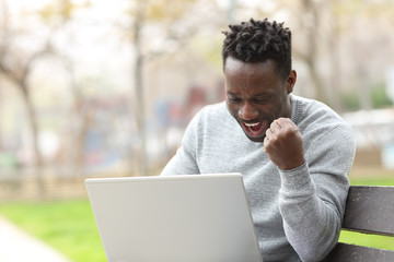 Excited black man checking laptop in a park