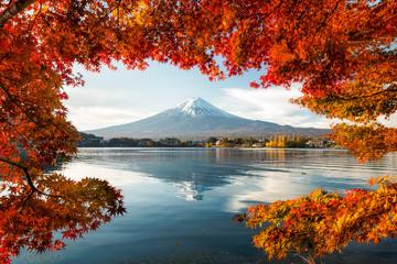 Lake Kawaguchiko with Mount Fuji in autumn