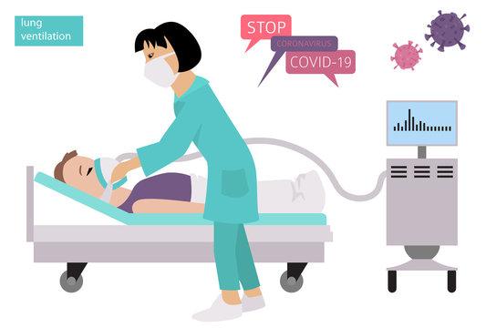 Lung ventilation. Quarantine, stop coronavirus epidemic design concept