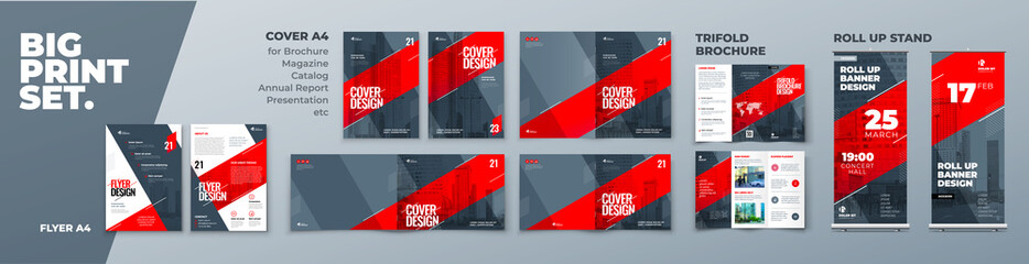 Corporate Identity Print Template Set of Brochure cover, flyer, tri fold, report, catalog, roll up banner. Branding design. Business stationery background design collection.