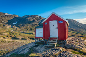 Red emergency hut on the Arctic Circle Trail, Grenland