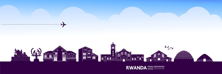 Fototapete - Rwanda travel destination grand vector illustration.