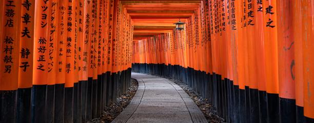 Red torii gates of the Fushimi Inari Shrine in Kyoto, Japan