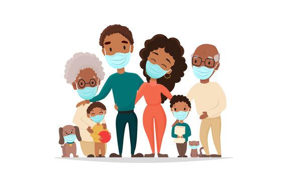 Coronavirus in whole world. African black family in medical face mask. Concept of coronavirus quarantine 2020. Protect your family, vector flat cartoon illustration.