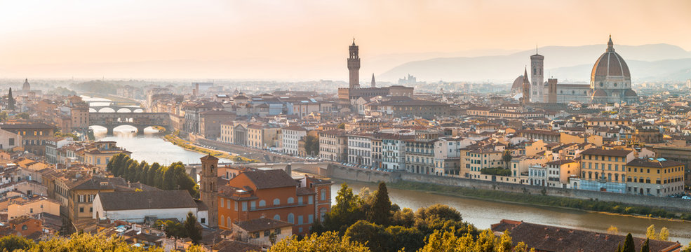 Florence panoramic aerial view  at sunset
