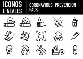 iconos prevencion corona virus