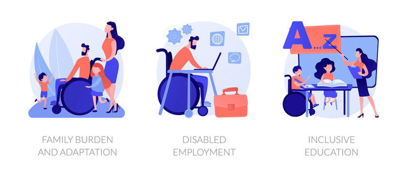 Handicapped people support and rehabilitation flat icons set. Social adaptation of disabled people, disabled employment, inclusive education metaphors. Vector isolated concept metaphor illustrations.