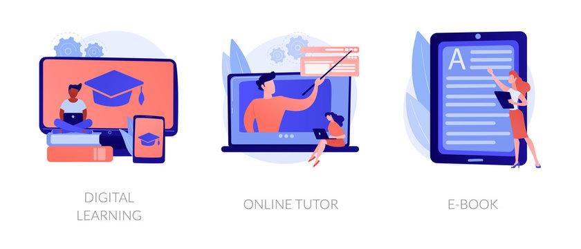 Internet school graduation, professional teacher service, electronic book device icons set. Digital learning, online tutor, e-Book metaphors. Vector isolated concept metaphor illustrations