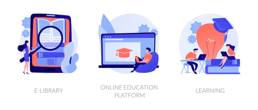 Internet bookstore, remote training classes service, academic graduation icons set. E-library, online education platform, learning metaphors. Vector isolated concept metaphor illustrations