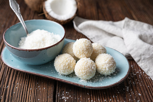Delicious no bake candy, white chocolate truffles covered in shredded coconut