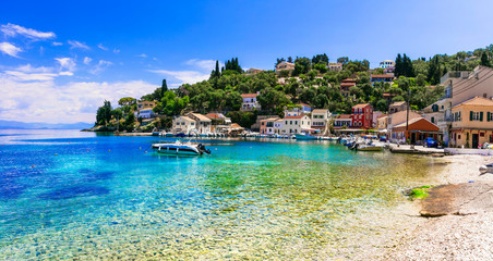 Greek summer holidays - tranquil village Loggos in beautiful Paxos. Ionian islands