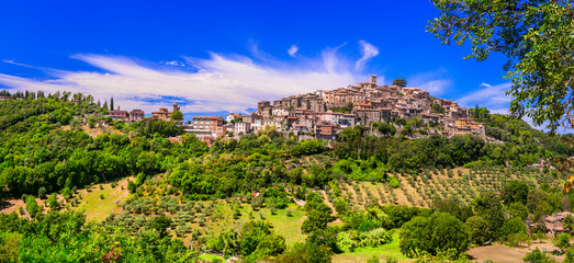 Traditional hill top medieval villages (borgo) of Italy - picturesque Casperia in Rieti province
