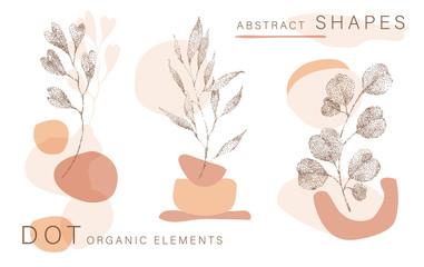 Abstract poster background minimal shapes, half tone leaves dot design elements, leaf. Vector Art print, terracota shapes. Creative digital illustration for minimalism, hipster, scandinavian design