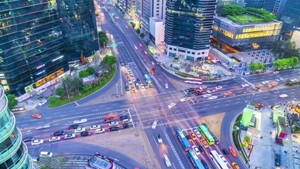 Papier Peint - 4k Time lapse Traffic of Gangnam City Skyscaper in Seoul,South Korea