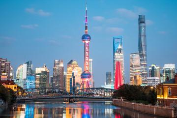Foto auf Leinwand Shanghai Night view of modern city in Shanghai, China