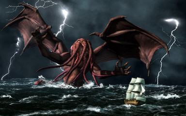 The demonic god, Cthulhu, from a forgotten age rises from a stormy sea to terrorize a passing ship. 3D Rendering Fotobehang