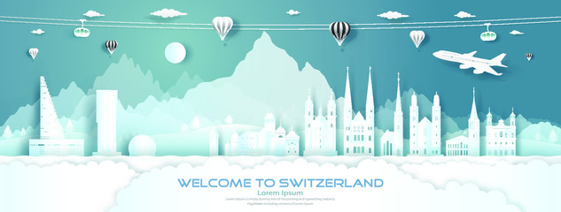 Wall Mural - Travel panorama to switzerland top world famous palace, castle architecture.