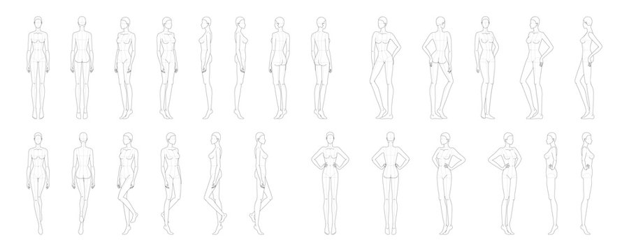 Fashion template of 25 women.