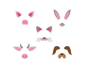 Animal face dog,rabbit,cow,pig,cat elements set. Vector illustration. Animal character ears and nose. Video chart filter effect for selfie photo