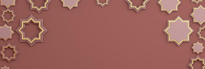 Arabic geometric star ornament on brown background. Design creative concept of islamic celebration day ramadan kareem or eid al fitr adha, copy space text area, 3D rendering illustration.