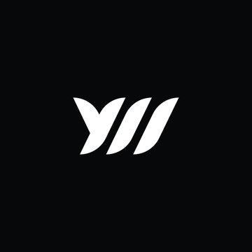 Minimal elegant monogram art logo. Outstanding professional trendy awesome artistic YM MY YW WY initial based Alphabet icon logo. Premium Business logo White color on black background