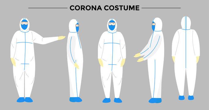 paramedics wearing protective costumes bundle set. corona virus or covid-19 costum