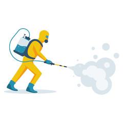Disinfection concept. Man in yellow protective hazmat suit. Prevention coronavirus. Vector illustration flat design. Radiation and danger. Epidemic precautions.