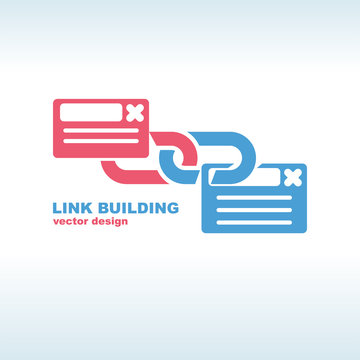 Link building service. Glyph icon link. Seo concept. Vector illustration flat design. Isolated on white background. Building color silhouette.