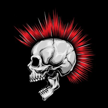 skull punk red hair vector