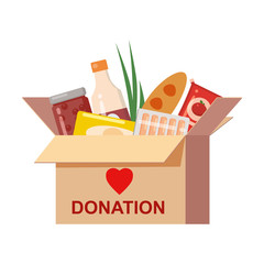 Box donation with food charity. Canned, bread, drinks. With text banner donate