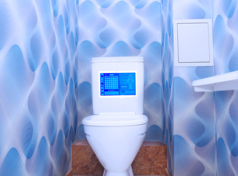 Toilet bowls with touch controls and Using biometric data. Concept Smart Home, Circular Home and Health Home