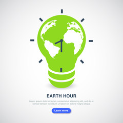 Earth Hour banner. Saving the planet, environmental action. The globe in the form of a light bulb and a clock with an arrow on a light background.