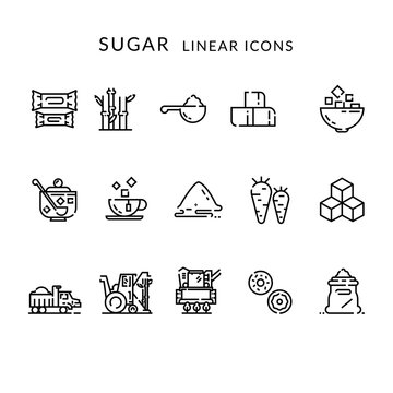 Sugar production, growing and processing. Linear icons