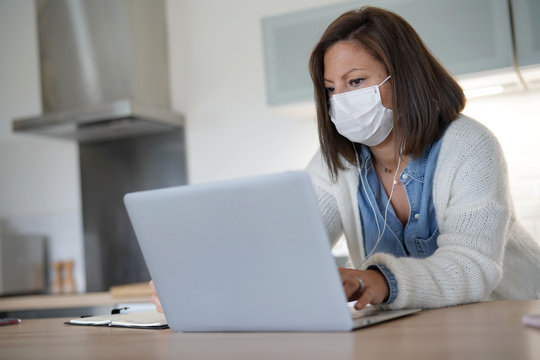 Woman working from home during coronavirus outbreak