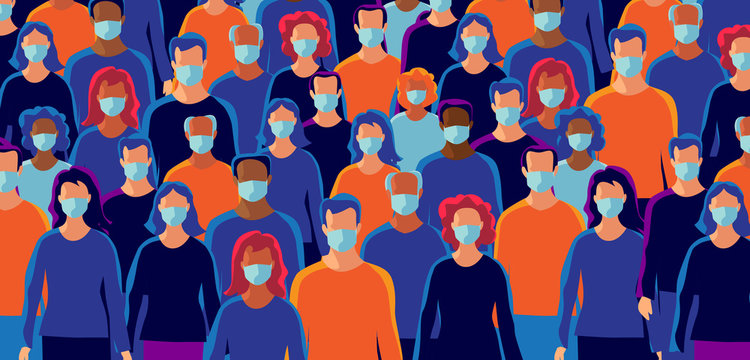 Group of people wearing protection medical face mask to protect and prevent virus, disease, flu, air pollution, contamination, corona. Many ages of old man woman. Vector illustration.