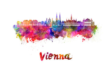 Fotomurales - Vienna skyline in watercolor